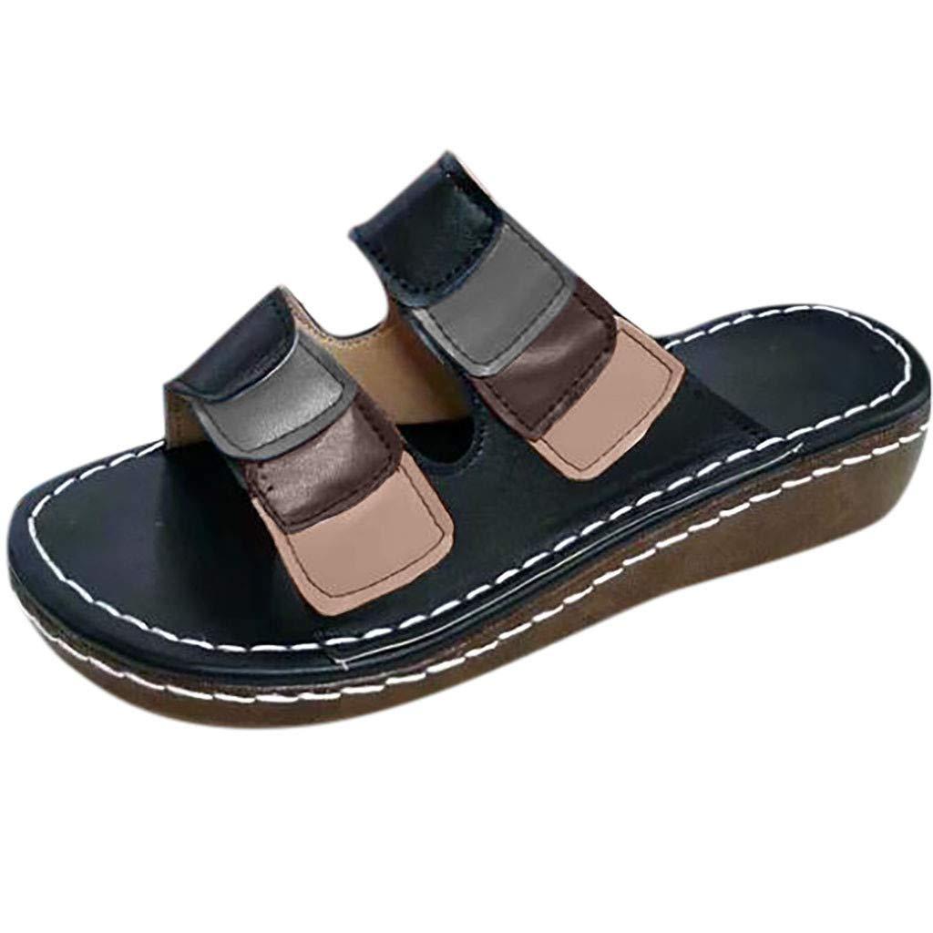 Plus-Size Sandals for Women Open Toe Casual Wedges Slip Slippers Platform Buckle Ladies Sandals Shoes