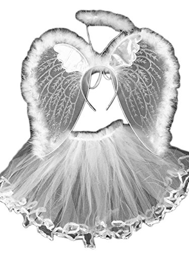 4 Different Themes Toddler Girl's Dress-Up or Costume Wing & Tutu Sets - White Angel Set (Angel Wings Halloween)