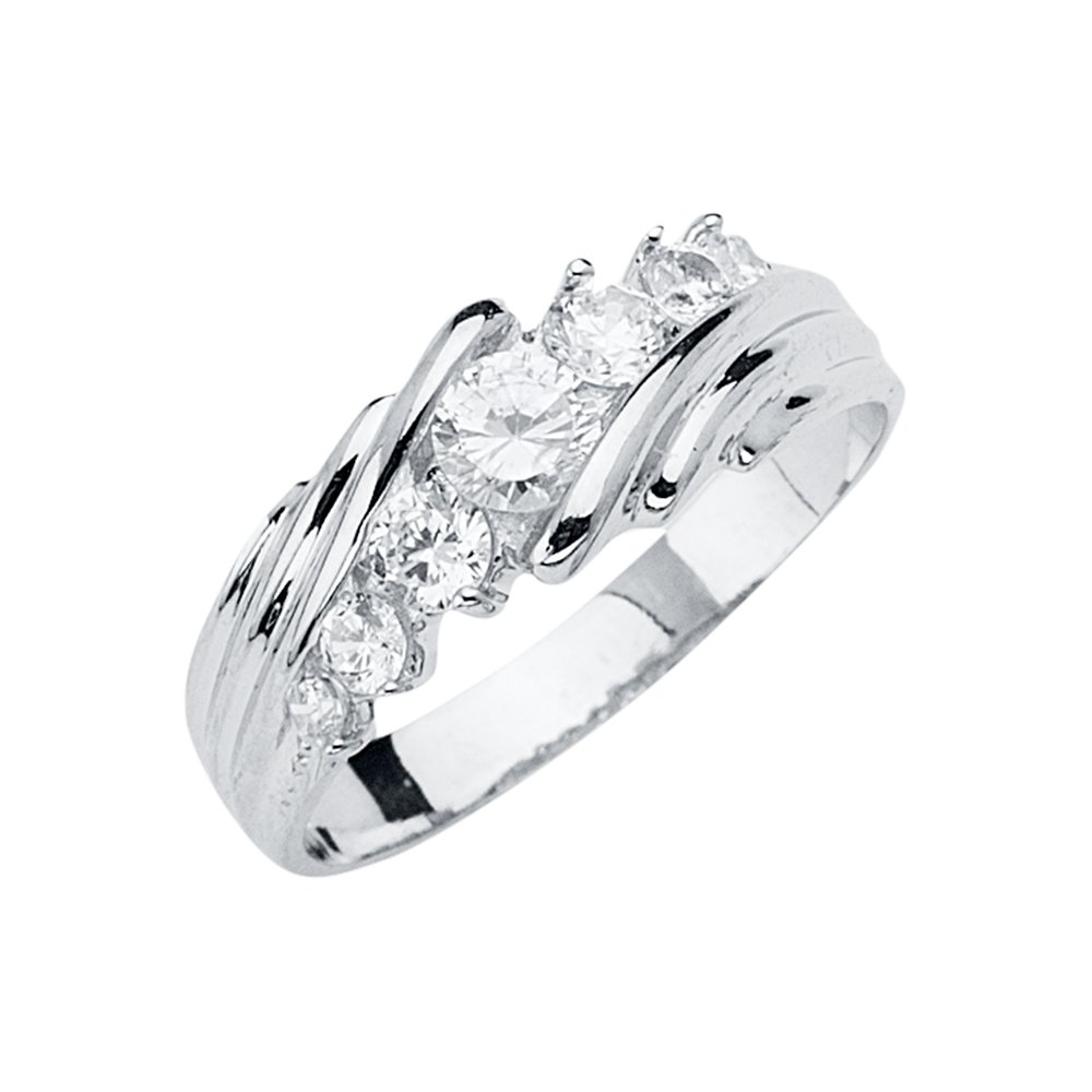 FB Jewels 14K White Gold Ring Mens Cubic Zirconia CZ Anniversary Wedding Band//Trio Set