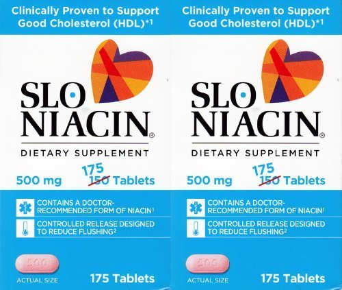 Slo Niacin 500mg 2 Packs each of 175 Tablets by Slo-Niacin