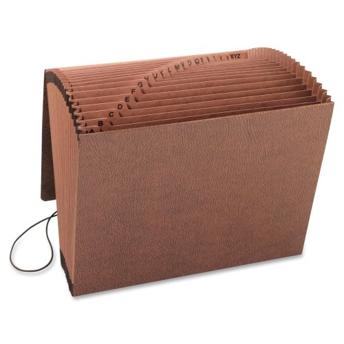 """Smead 70318 Leather-Like TUFF Expanding Files with Flap and Elastic Cord - Letter - 8.50"""" Width x 11"""" Length Sheet Size - 0.87"""" Expansion - 21 Pockets - Brown - 1 Each"""