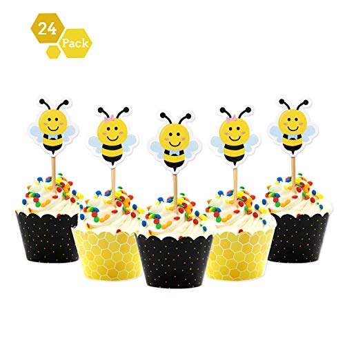 (Faisichocalato Bumble Bee Cupcake Toppers and Wrappers for Gender Reveal Baby Shower Party Decorations Supplies 24packs)