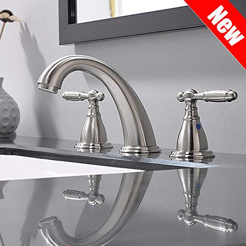 PHIESTINA Solid Brass Brushed Nickel 2 Handle Widespread Bathroom Sink Faucet, Brushed Nickel 2 Handles Widespread Bathroom Faucet With Stainless Steel Pop Up Drain, WF008-4-BN