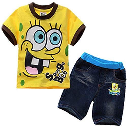 Toddler Boys' 2-Piece Spongebob T-Shirt and Pant Set Kids Clothes Set for 3-8Years (Yellow, 3T)]()