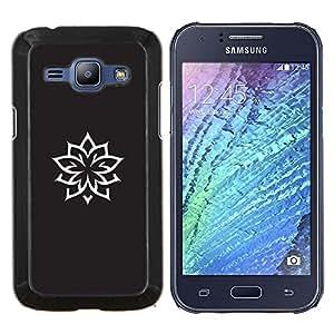 Caucho caso de Shell duro de la cubierta de accesorios de protección BY RAYDREAMMM - Samsung Galaxy J1 J100 - Tinta del tatuaje Minimalista Negro Blanco