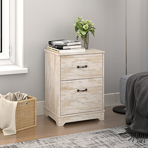 Nightstand with 2 Drawer in White Oak End Table by (End Chest)