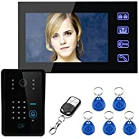 Mountainone Touch Key 7 LCD RFID Password Video Door Phone Intercom System Wth IR Camera 1000 TV Line Remote Access Control System