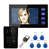 Mountainone Touch Key 7'' LCD RFID Password Video Door Phone Intercom System Wth IR Camera 1000 TV Line Remote Access Control System