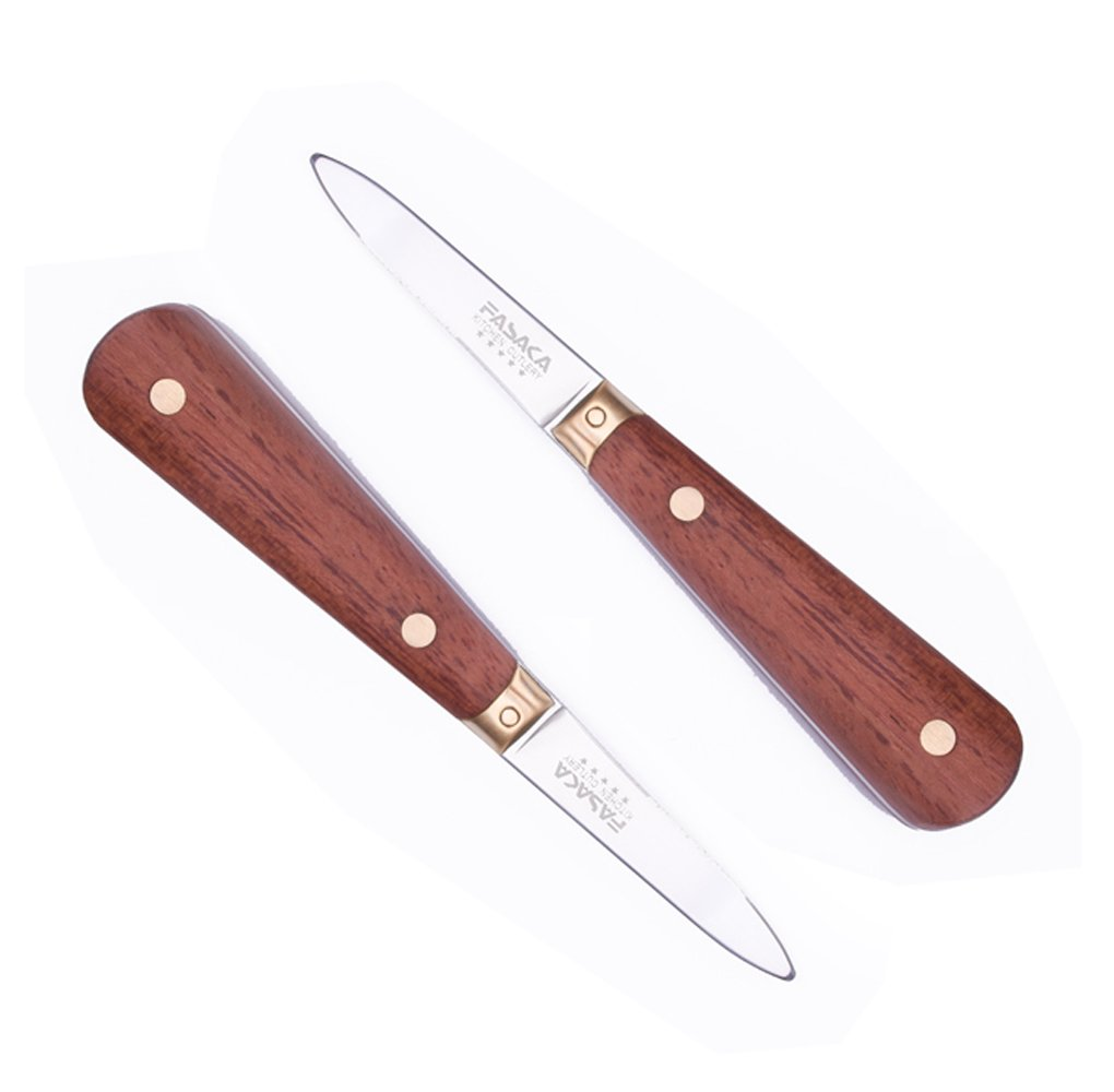 FASAKA Stainless Steel Oyster Knife with Wood Handle for Opening Shell Tool Oysters Scallops Seafood knife 2pcs with Gift Package