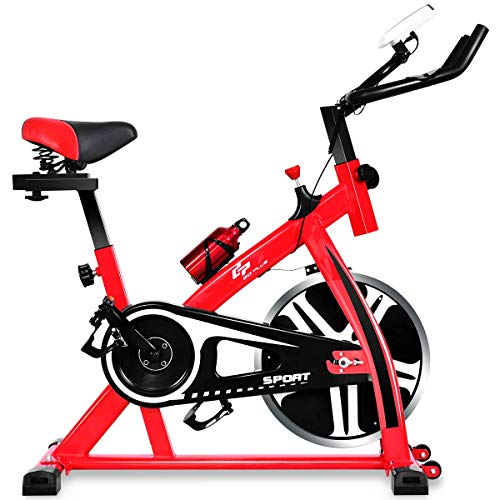 Goplus Stationary Bicycle, Indoor Cycling Bike, with Heart Rate Sensors, LCD Display, Professional Exercise Bike for Home and Gym Use (Upgraded)