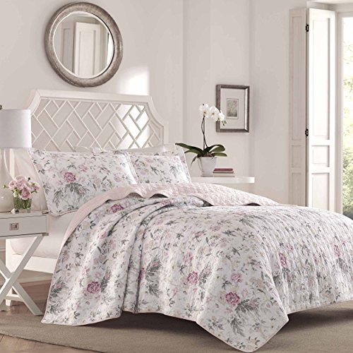 (Laura Ashley Breezy Floral Pink Quilt Set Twin Gray)