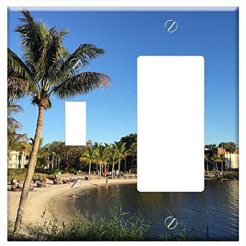 1-Toggle 1-Rocker/GFCI Combination Wall Plate Cover - Club Med Sandpiper Bay Beach River Palm Tree