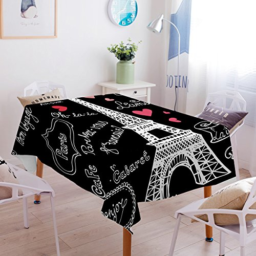 Sleepwish Eiffel Tower Tablecloth Black and White Table Cover Paris Themed Romantic Table Cloths for Kitchen Dinning Tabletop Linen Decor (Rectangle/Oblong, 55 x -
