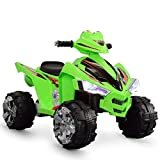 Kidzone Kids 12V Battery Powered Electric 4 Wheel Power Motorized Car with LED Headlights and Treaded Tires, Green