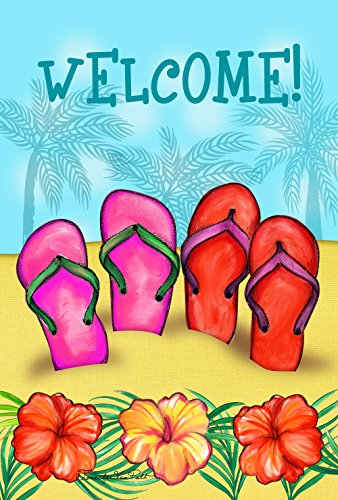 Toland Home Garden Sandy Sandals 12.5 x 18 Inch Tropical Flower Summer Sandal Beach Flip Flop Garden ()