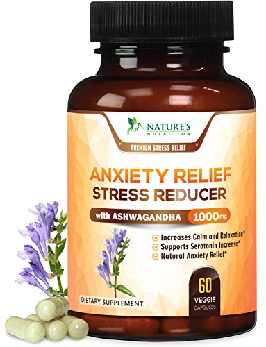 Anxiety Supplements Extra Strength Stress Relief 1000mg - Natural Mood Boost, Anti-Depressant & Adrenal Support - Serotonin & Dopamine Enhancer w/Ashwagandha & 5HTP, Made in The USA - 60 ()
