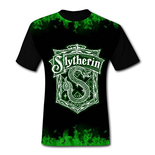 Ravenclaw Student Costume (3D Print Hipster T-Shirts Black Cool Tee Shirt Slytherin artist Flag Logo Tops Costume For Men)