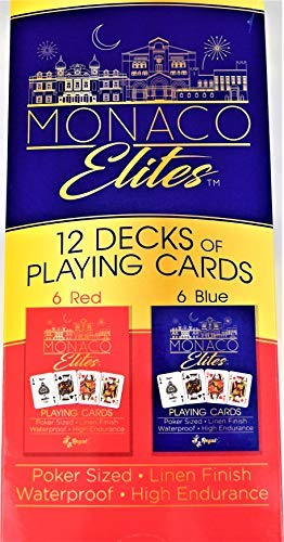 Regal Games Monaco Elite 100% Plastic Premium Waterproof Poker Size Playing Cards (Set of 12 ()