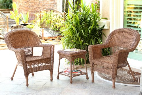 Jeco W00205_2-CES 3 Piece Wicker Chair and End Table Set Without Cushion, Honey (Wicker Honey Room Living Furniture)