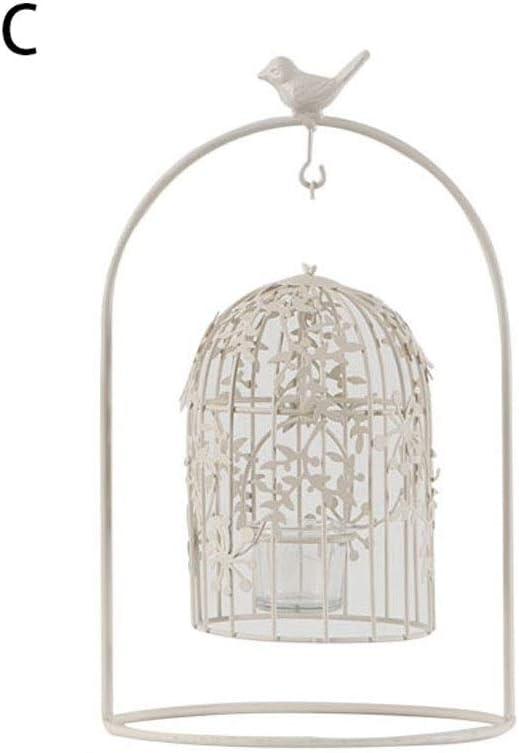 結婚式の装飾、欧州のキャンドルホルダーロマンチックな白い鳥籠ホームアクセサリーホーム庭の装飾キャンドルホルダーの結婚式の装飾 (Color : C)