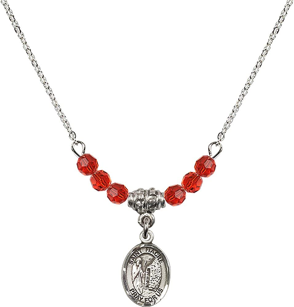 18-Inch Rhodium Plated Necklace with 4mm Ruby Birthstone Beads and Sterling Silver Saint Fiacre Charm.