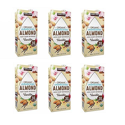 - Kirkland Signature Organic Non-Dairy Unsweetened Vanilla Almond Beverage Cartons: 6 ct. (32 fl. oz)