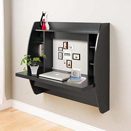 Erfect Wall Mounted Computer Desk Floating Desk With Storage Office Desk Shelf (Black)