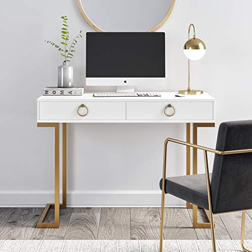 nathan james 53301 leighton two drawer home office computer desk rh amazon ca