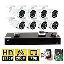 GW 8 Channel H.265 NVR 4.0MP (2592 x 1520) Power Over Ethernet IP Camera System, 8pcs 4MP 1520p 2.8-12mm Varifocal Zoom POE Weatherproof Bullet Security Cameras, 130ft Night Vision
