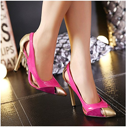 Dayiss Elegant Damen Pumps High Heels Stilettos Sommer Sandalen Party Ballschuhe Abendschuhe Pink