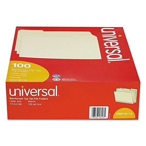 Universal 16113 File Folders, 1/3 Cut Assorted, Two-Ply Top Tab, Letter, Manila, 100/Box