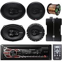 Pioneer DEH150MP Car Stereo CD Player Bundle Combo With 2x Rockford Fosgate 6.5 180 Watt 3-Way Full-Range Coaxial Speaker + 2x 6x9 Audio Speaker + 800Watt 4 Channel Amplifier + 50Ft 16g Speaker Wire