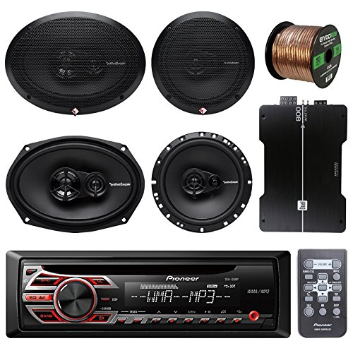 Pioneer DEH150MP Car Stereo CD Player Bundle Combo With 2x Rockford Fosgate 6.5