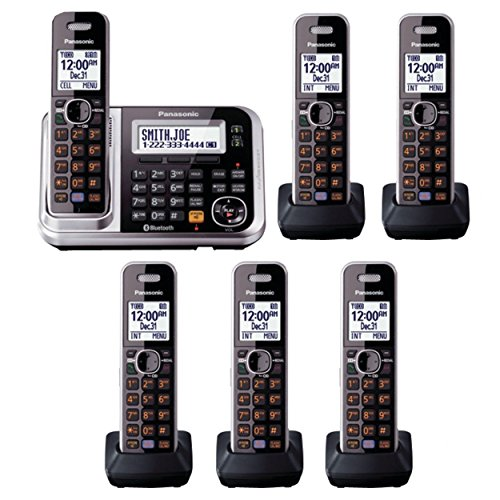 Alert Digital Cordless Phone - Panasonic Link2Cell KX-TG7875S DECT 6.0 1-Line Bluetooth Cordless Phone, Digital Answering Machine- 6 Handsets