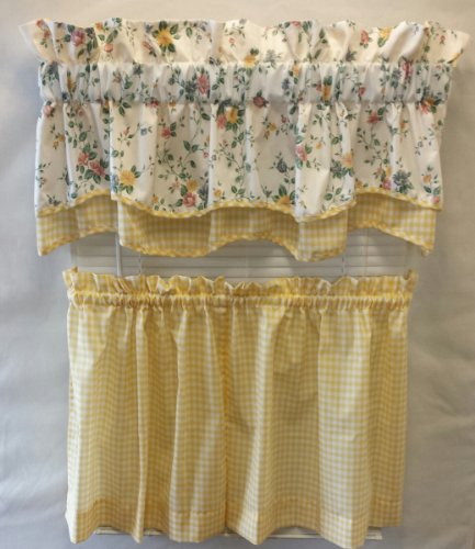 MARY GINGHAM(YELLOW, DOUBLE SCALLOP VALANCE 54