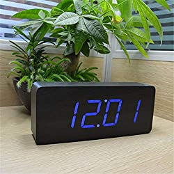 HOMECLVS Digital Alarm Clocks Modern Calendar Thermometer Wooden Big Numbers LED Table Clock Black Blue