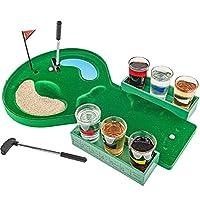 Fairly Odd Novelties FON-10179 Juego de juego de beber vidrio para jugar al golf en la mesa Hace que los jugadores de golf Día de padres Cumpleaños Elefante blanco Regalo Estándar Verde
