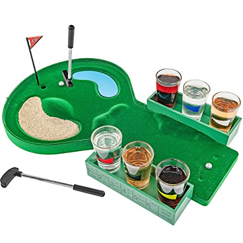 Fairly Odd Novelties FON-10179 Table Golf Shot Glass Drinking Game Set Makes A Golfer Fathers Day Birthday White Elephant Gag Gift, Standard, Green