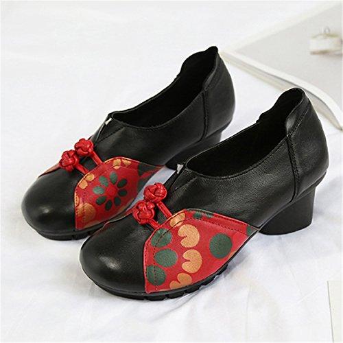 Socofy Retro Læder Sko, Kvinders Midten Hæl Mode Kinesisk Bowknot Mønster Læder Folkways Rundt Hoved Blomstret Sko Sort