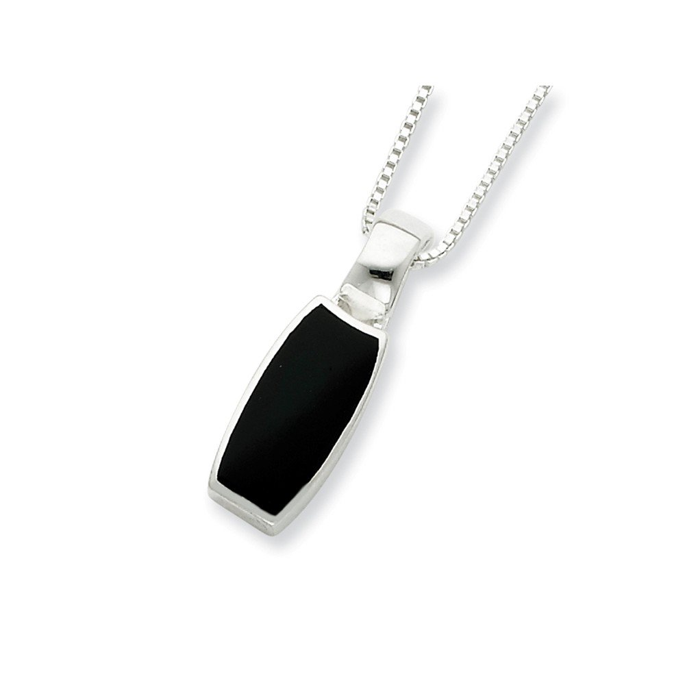 Sterling Silver Onyx Pendant Necklace 16 Inch