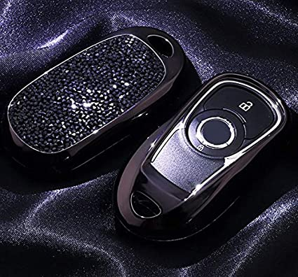 Black TM Royalfox 2 3 4 5 Buttons 3D Bling Smart keyless Entry Remote Key Fob case Cover for Buick Verano Regal Lacross Encore Envision Enclave GL8 2015 2016 2017 2018 Accessories,with Keychain