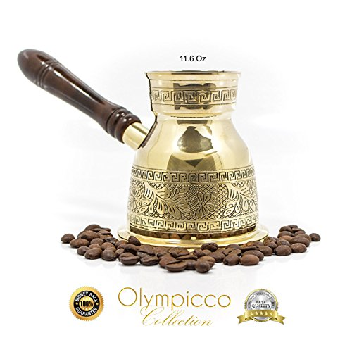 Greek Turkish Coffee Pot Solid Brass 2.8mm – Handmade Elegant Patterns with Coffee Flowers and Greek Key Design with Removable Wooden Handle – Olympic…