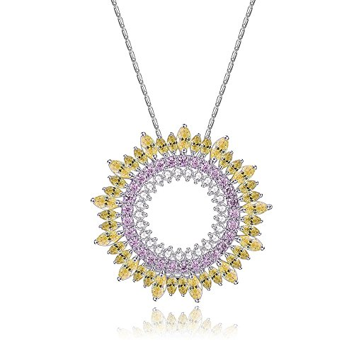 AFSSHOPPING Sparkling Sunburst with Crystal Accents Necklace for Women