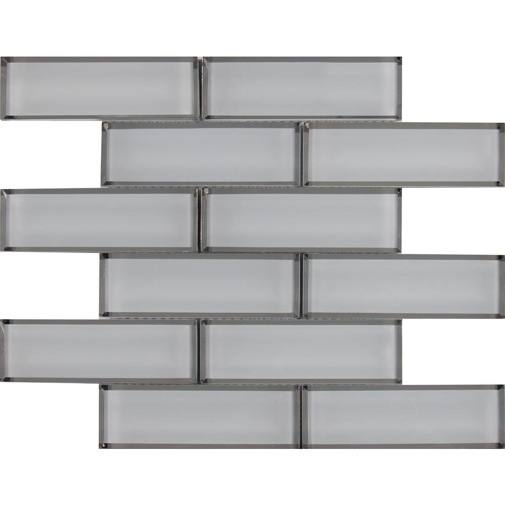 White Glass Mirror Beveled 2'' x 6'' Subway Tile Kitchen Backsplash Idea Bath Shower Wall Mosaics by Vogue Tile