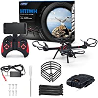 Fineser JJRC H11WH Wifi FPV RC Quadcopter Drone with 2.0MP HD Camera 2.4GHz 4CH 6-Gyro Headless Mode Altitude Hold , One-Key Function ,LED Light and Headless Mode (Black)