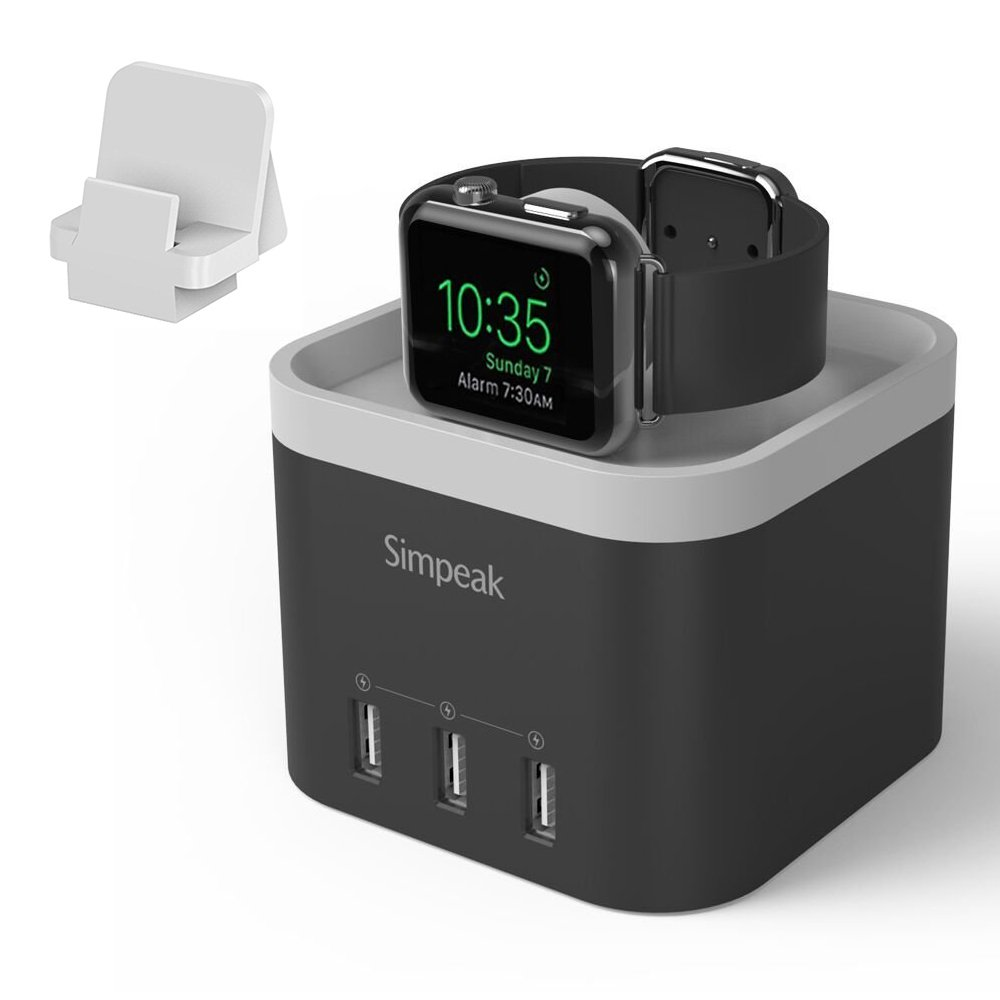 Simpeak 4 Port USB Charger Stand Dock for iWatch 1/2/3/4 [Nightstand Mode] -with Phone Holder Charger Stand for iPhone 5/6/7/8/XS Max and Other Smartphone, Black by Simpeak