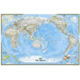 World Classic Pacific Centered Laminated National Geographic Reference Map
