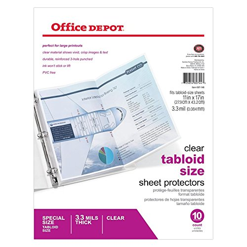 (Office Depot Tabloid-Size Sheet Protectors, 11in. x 17in, Clear, Pack of 10, 697146)