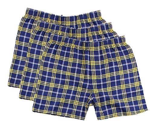 HTC Set: 3 Boxercraft Flannel Boxer Shorts and HTC Care Guide, Navy/Gold-L