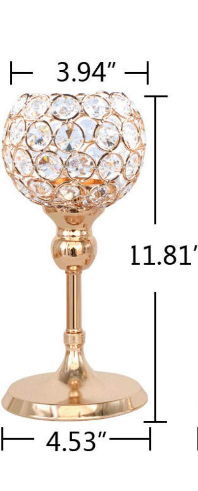 11.8'' Gold Votive Crystal Candle Holders Pillar Table Centerpiece Wedding Dinner Decor